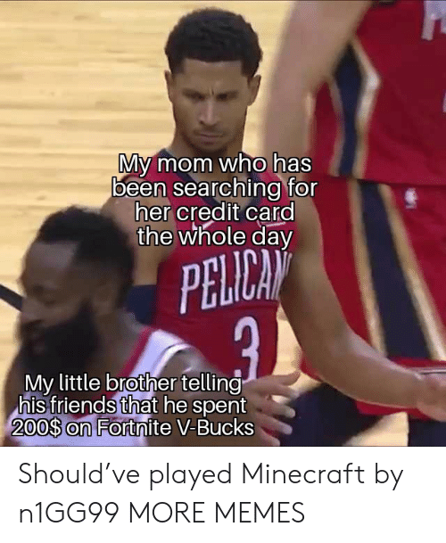 Dank, Friends, and Memes: My mom who has  been searching for  her credit card  the whole day  PELICAN  My little brother telling  his friends that he spent  200$ on Fortnite V-Bucks Should've played Minecraft by n1GG99 MORE MEMES