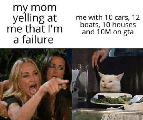 Cars, Memes, and Failure: my mom  yelling at  me that I'm  a failure  me with 10 cars, 12  boats, 10 houses  and 10M on gta