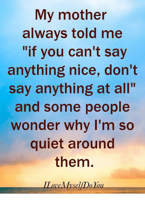 "Memes, Quiet, and Say Anything...: My mother  always told me  ""if you can't say  anything nice, don't  say anything at all""  and some people  wonder why I'm so  quiet around  them.  ILoveMyselfDo lou"