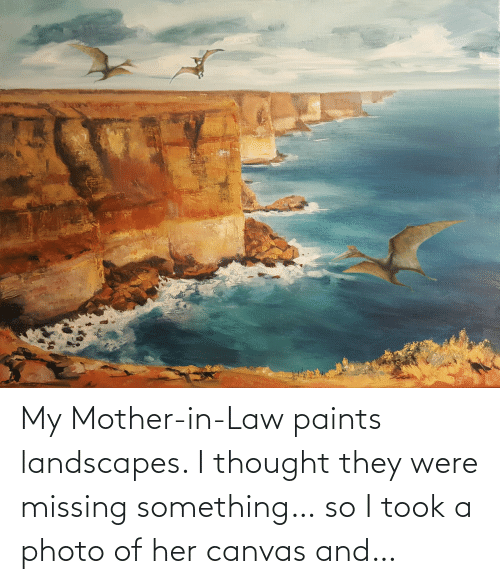 Canvas, Thought, and Her: My Mother-in-Law paints landscapes. I thought they were missing something… so I took a photo of her canvas and…