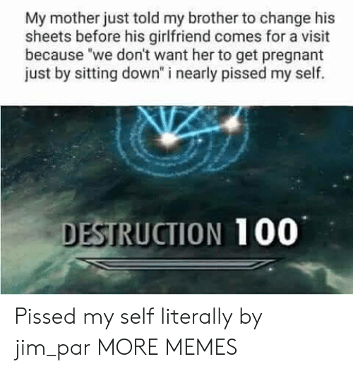 """Anaconda, Dank, and Memes: My mother just told my brother to change his  sheets before his girlfriend comes for a visit  because """"we don't want her to get pregnant  just by sitting down"""" i nearly pissed my self.  DESTRUCTION 100 Pissed my self literally  by jim_par MORE MEMES"""