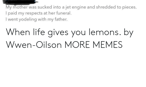 Dank, Life, and Memes: My mother was sucked into a jet engine and shredded to pieces.  I paid my respects at her funeral  went yodeling with my father. When life gives you lemons. by Wwen-Oilson MORE MEMES