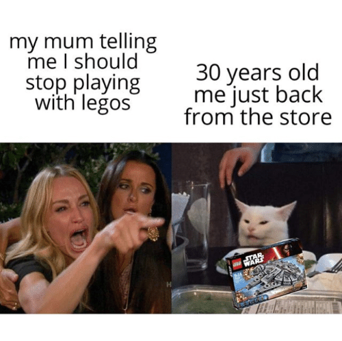 Legos, Old, and Back: my mum telling  me I should  stop playing  with legos  30 years old  me just back  from the store  AR  WARS  944