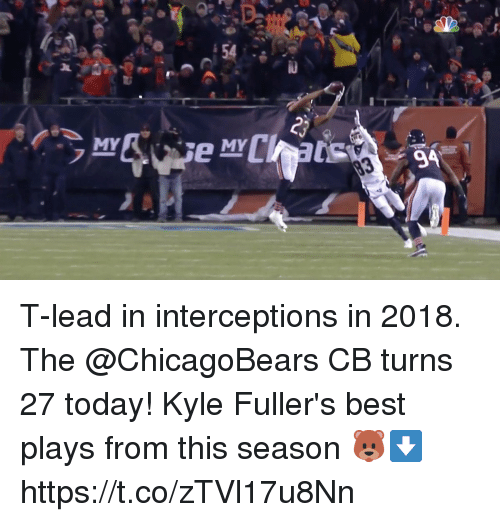 Memes, Best, and Today: MY  MY T-lead in interceptions in 2018.  The @ChicagoBears CB turns 27 today!  Kyle Fuller's best plays from this season 🐻⬇️ https://t.co/zTVl17u8Nn