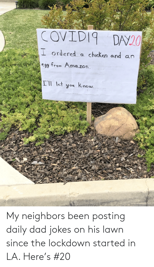 Dad, Jokes, and Neighbors: My neighbors been posting daily dad jokes on his lawn since the lockdown started in LA. Here's #20