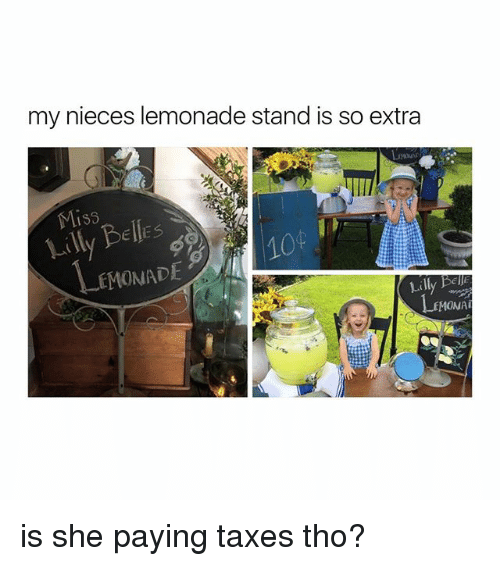 Taxes, Girl Memes, and Lemonade: my nieces lemonade stand is so extra  Miss  Lilly Belles  10  EMONADE  Lilly Bell  MONA is she paying taxes tho?