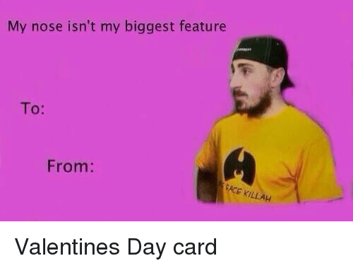 my nose isn t my biggest feature from e killah valentines day card