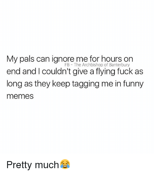 Funny, Memes, and Fuck: My pals can ignore me for hours on  FB The Archbishop of Banterbury  end and I couldn't give a flying fuck as  long as they keep tagging me in funny  memes Pretty much😂