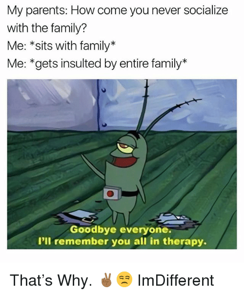 Family, Parents, and Dank Memes: My parents: How come you never socialize  with the family?  Me: *sits with family*  Me: *gets insulted by entire family*  Goodbye everyone.  I'll remember you all in therapy. That's Why. ✌🏾😒 ImDifferent