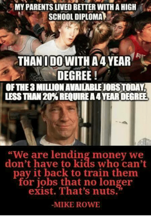 """Memes, Money, and Parents: MY PARENTS LIVED BETTER WITH A HIGH  SCHOOL DIPLOMA  THANIDOWITH A 4YEAR  DEGREE!  OFTHE3 MILLION AVAILABLEJOBS TODAY  LESS THAN 20% REQUIRE A 4 YEAR DEGREE  """"We are lending money we  don't have to kids who can't  pay it back to train them  for jobs that no longer  exist. That's nuts.  MIKE ROW"""