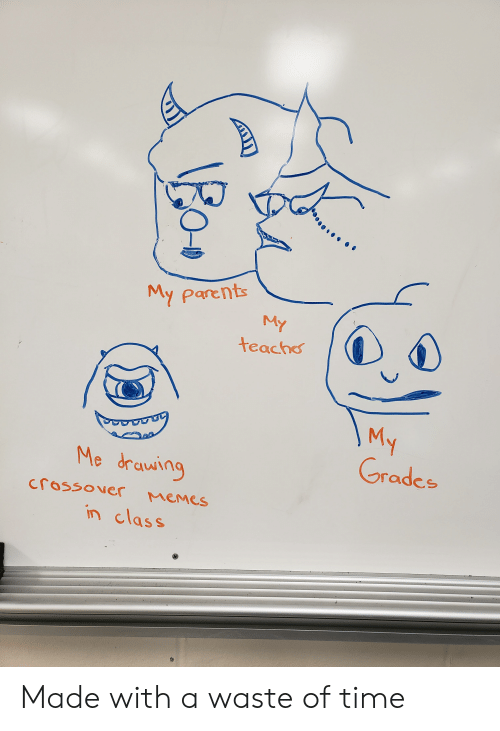 Memes, Parents, and Reddit: My parents  My  teacho  V  My  Grades  Me drawing  Memes  crossover  in class Made with a waste of time