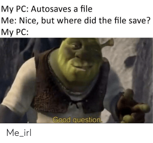 Good, Irl, and Me IRL: My PC: Autosaves a file  Me: Nice, but where did the file save?  Мy PC:  Good question Me_irl