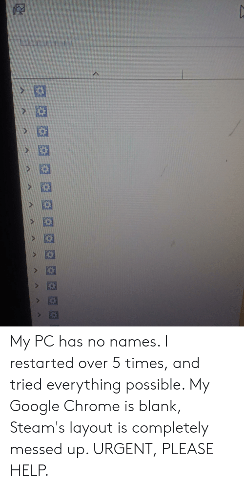 Chrome, Google, and Help: My PC has no names. I restarted over 5 times, and tried everything possible. My Google Chrome is blank, Steam's layout is completely messed up. URGENT, PLEASE HELP.