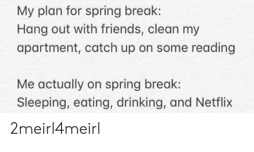 Drinking, Friends, and Netflix: My plan for spring break:  Hang out with friends, clean my  apartment, catch up on some reading  Me actually on spring break  Sleeping, eating, drinking, and Netflix 2meirl4meirl