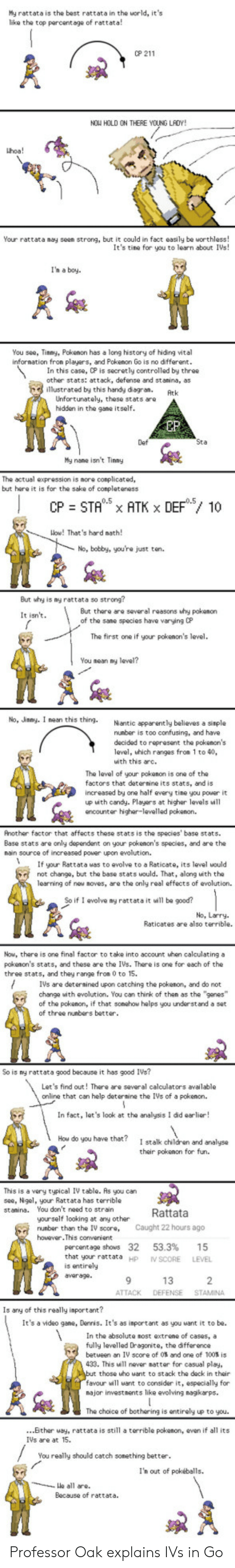 Anaconda, Apparently, and Candy: My rattata is the best rattata in the world, its  like the top parcentage of rattata!  0P 211  NOW HOLD ON THERE YOUNG LAOY!  hoa!  Your rattata may seen strong, but it could in fact easily be worthless!  It's tine for you to learn about IVs!  I'h a boy  You see, Tinmy, Pokenon has a long history of hiding vital  infornation fron players, and Pokenon Go is no different  In this case, CP is secretly controlled by three  other stats: attack, defense and stanina, as  illustrated by this handy diegran.Atk  Unfortunately, these stats aro  hidden in the gane  itself  EP  Def  My nane isnt Tiny  The actual expression is nore conplicated,  but hare it is for the sake of conpleteness  Wow! That's hard nath  No, bobby, you're just ton.  But why is ny rattata so strong?  But there are several reasons why pokenon  of the sane species have varying CP  It isn't  The first one if your pokenon's level.  You nean y  No, Jnmy. I nean this thing. Niantic apparently believes a  nunber is too confusing, and have  decided to reprosent the pokenon's  level, hich ranges from 1 to 40,  uith this arc.  The leval of your pokanon is one of the  factors that deternine its stats, and is  increased by one half every tine you power it  up with candy. Playars at higher levels will  ancounter higher-levelled pokenon.  Another factor that affects these stats is the species' base stats  Base stats are only dependent on your pokenon's species, and are the  nain source of increased power upon evolution.  Ifyu Rattata uas to avolve to a Raticate, its level would  not change, but the base stats would. That, along with the  learning of new noves, are the only real effects of evolution.  So if 1 evolve ny rattata it will be good?  No, Larry  Raticates are also terrible.  Now, there is one final factor to take into account uhen calculating a  pokenon's stats, and these are the IVs. There is one for each of the  three stats, and they range fron 0 to 15.  IVs are detersined upo