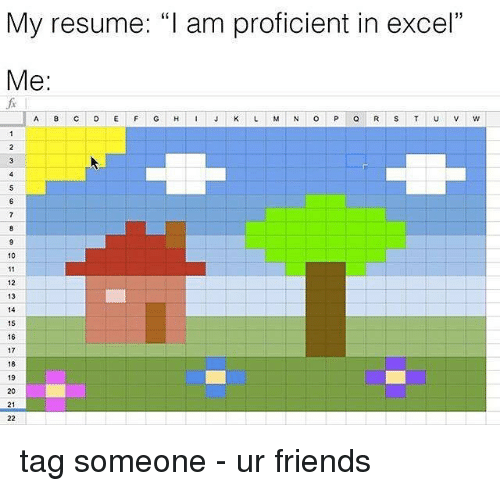 My Resume I Am Proficient In Excel Me 10 12 13 14 15 16 17 18 19 22. Memes Excel And Resume My I Am Proficient In. Resume. Good Exle Resume At Quickblog.org
