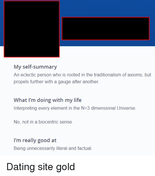 My self summary for dating site