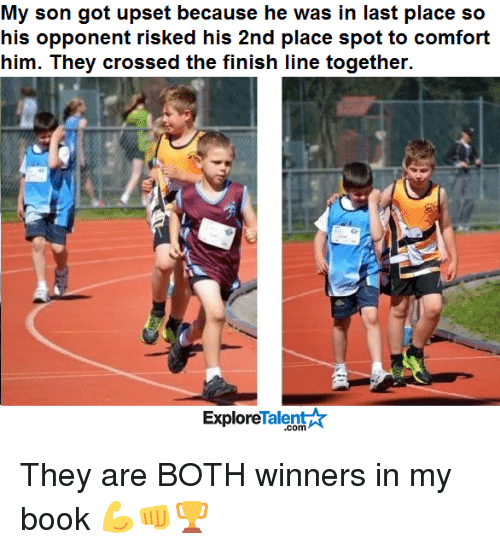 Finish Line, Memes, and 🤖: My son got upset because he was in last place so  his opponent risked his 2nd place spot to comfort  him. They crossed the finish line together.  Talent  Explore They are BOTH winners in my book 💪👊🏆