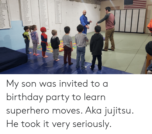 Birthday, Party, and Superhero: My son was invited to a birthday party to learn superhero moves. Aka jujitsu. He took it very seriously.