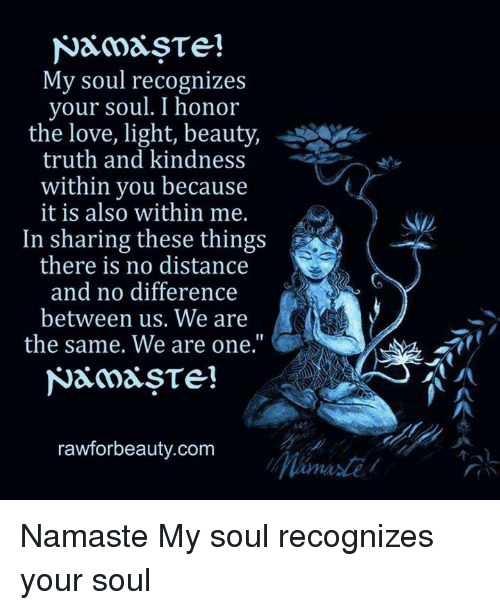 My Soul Recognizes Your Soul I Honor The Love Light Beauty Truth And