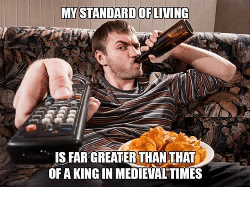 Memes and 🤖: MY STANDARD OF  LIVING  IS FAR GREATER THAN THAT  OF A KINGIN MEDIEVALTIMES