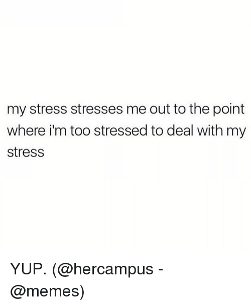 Memes, 🤖, and Stress: my stress stresses me out to the point  where im too stressed to deal with my  stress YUP. (@hercampus - @memes)