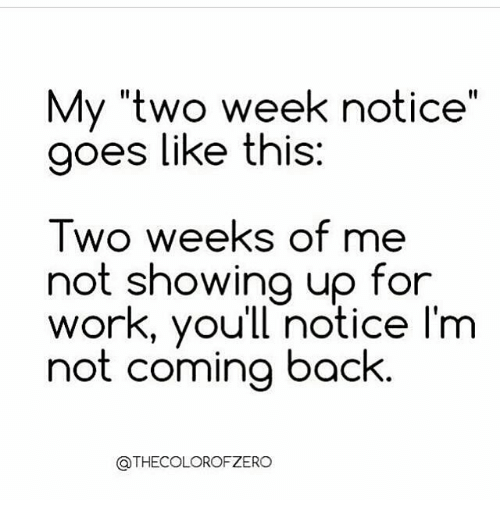 my two weeks notice