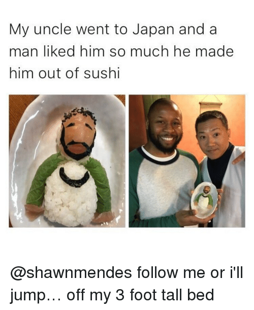 Sushi, Jumped, and Foot: My uncle went to Japan and a  man liked him so much he made  him out of sushi @shawnmendes follow me or i'll jump… off my 3 foot tall bed
