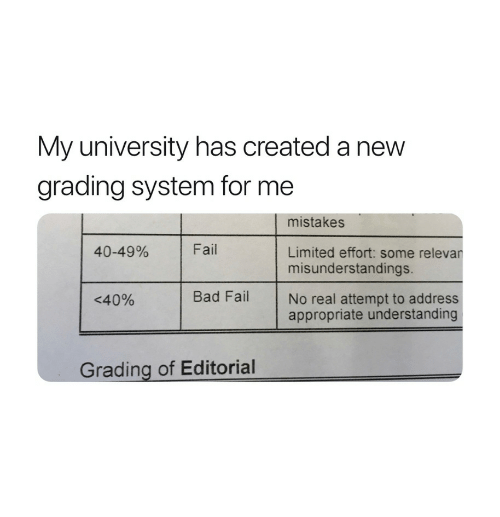 Bad, Fail, and Limited: My university has created a new  grading system for me  mistakes  40-49%  Fail  Limited effort: some relevar  misunderstandings.  <40%  Bad FailNo real attempt to address  appropriate understanding  Grading of Editorial