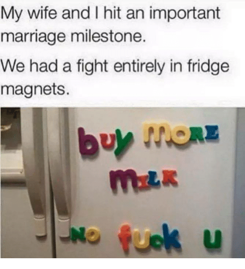 Marriage, Relationships, and Wife: My wife and I hit an important  marriage milestone.  We had a fight entirely in fridge  magnets.