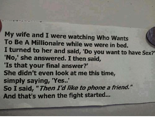 My wife wants no sex