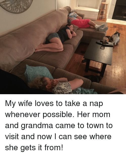 Funny, Grandma, and Love: My wife loves to take a nap whenever possible. Her mom and grandma came to town to visit and now I can see where she gets it from!