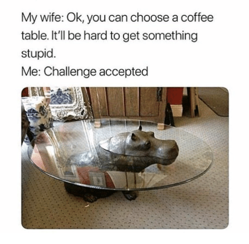 My Wife Ok You Can Choose A Coffee Table Itll Be Hard To Get - Hippo coffee table