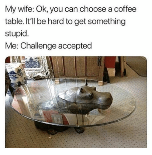 Dank, Coffee, and Wife: My wife: Ok, you can choose a coffee  table. It'll be hard to get something  stupid.  Me: Challenge accepted