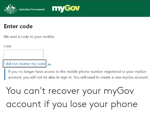 myGov Australian Government Enter Code We Sent a Code to