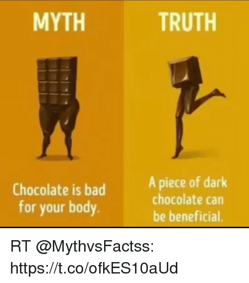 Bad, Memes, and Chocolate: MYTH  TRUTH  Chocolate is bad  for your body  A piece of dark  chocolate can  be beneficial. RT @MythvsFactss: https://t.co/ofkES10aUd
