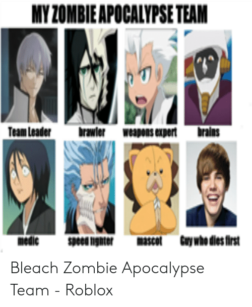 Zombie Apocalypse In Roblox Myzombieapocalypse Team Team Leader Brawler Weapons Expert Brains Bleach Zombie Apocalypse Team Roblox Brains Meme On Me Me