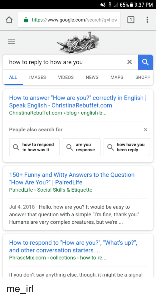How are you answer in english