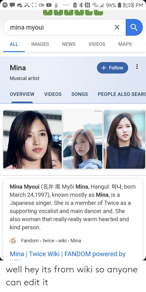 N 94%828 PM as Mina Myoui VIDEOS ALL IMAGES NEWS MAPS Mina