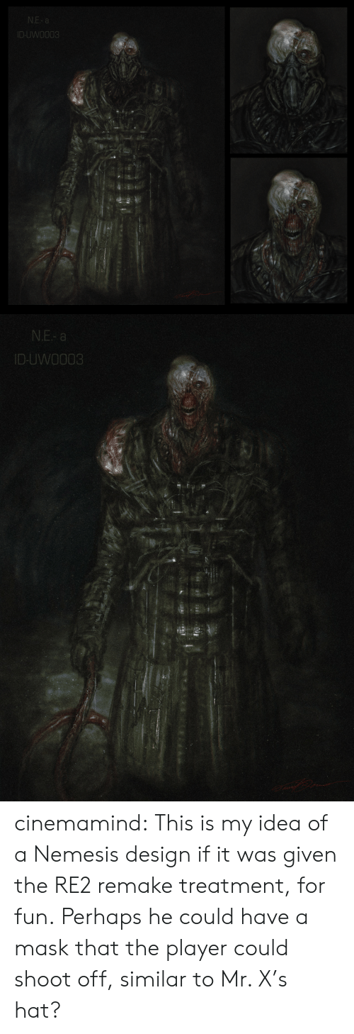 Tumblr, Blog, and Mask: N.E- a  ID-UWO003   N.E- a  ID-UWO003 cinemamind:  This is my idea of a Nemesis design if it was given the RE2 remake treatment, for fun.Perhaps he could have a mask that the player could shoot off, similar to Mr. X's hat?