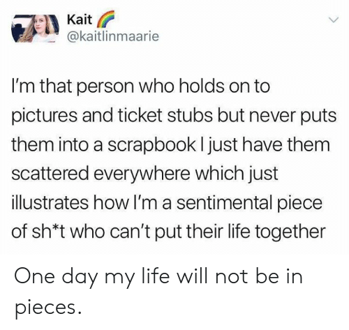 Dank, Life, and Pictures: n @kaitlinmaarie  I'm that person who holds on to  pictures and ticket stubs but never puts  them into a scrapbook l just have them  scattered everywhere which just  illustrates how I'm a sentimental piece  of sh*t who can't put their life together One day my life will not be in pieces.