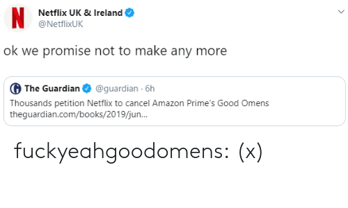 Amazon, Books, and Netflix: N  Netflix UK & Ireland  @NetflixUK  ok we promise not to make any more  G The Guardian  @guardian 6h  Thousands petition Netflix to cancel Amazon Prime's Good Omens  theguardian.com/books/2019/jun.. fuckyeahgoodomens: (x)