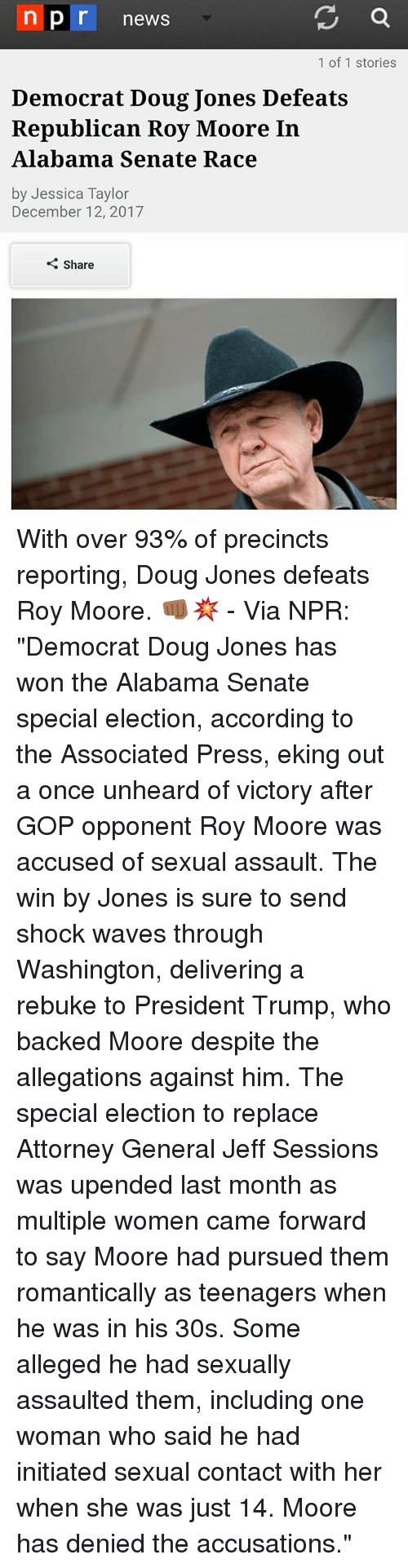 "Doug, Memes, and News: n pr news  1 of 1 stories  Democrat Doug Jones Defeats  Republican Roy Moore In  Alabama Senate Race  by Jessica Taylor  December 12, 2017  Share With over 93% of precincts reporting, Doug Jones defeats Roy Moore. 👊🏾💥 - Via NPR: ""Democrat Doug Jones has won the Alabama Senate special election, according to the Associated Press, eking out a once unheard of victory after GOP opponent Roy Moore was accused of sexual assault. The win by Jones is sure to send shock waves through Washington, delivering a rebuke to President Trump, who backed Moore despite the allegations against him. The special election to replace Attorney General Jeff Sessions was upended last month as multiple women came forward to say Moore had pursued them romantically as teenagers when he was in his 30s. Some alleged he had sexually assaulted them, including one woman who said he had initiated sexual contact with her when she was just 14. Moore has denied the accusations."""