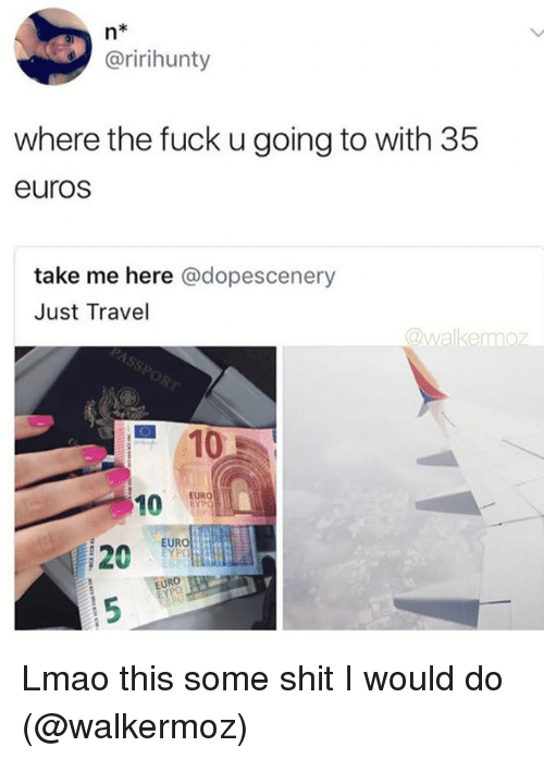 Lmao, Shit, and Tumblr: n*  @ririhunty  where the fuck u going to with 35  euros  take me here @dopescenery  Just Travel  @walkermoz  ■ 10  10 En。  20  EURO  120 EUR  EURO  p0 Lmao this some shit I would do (@walkermoz)