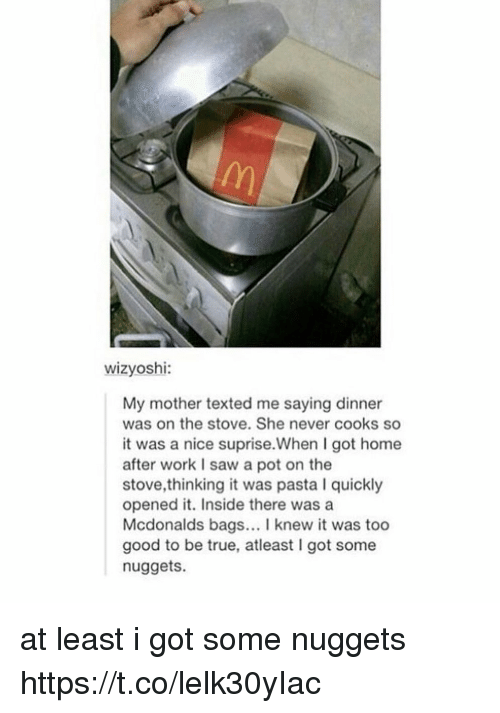McDonalds, Memes, and Saw: /n  wizyoshi:  My mother texted me saying dinner  was on the stove. She never cooks so  it was a nice suprise.When I got home  after work I saw a pot on the  stove,thinking it was pasta I quickly  opened it. Inside there wasa  Mcdonalds bags. I knew it was too  good to be true, atleast I got some  nuggets. at least i got some nuggets https://t.co/lelk30yIac