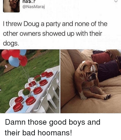 Bad, Blackpeopletwitter, and Dogs: na$.?  @NasMaraj  I threw Doug a party and none of the  other owners showed up with their  dogs.