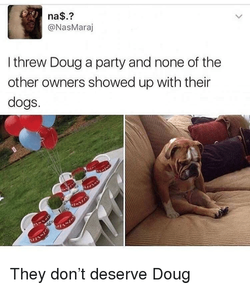 Dogs, Doug, and Party: na$.?  @NasMaraj  I threw Doug a party and none of the  other owners showed up with their  dogs.  %21 They don't deserve Doug