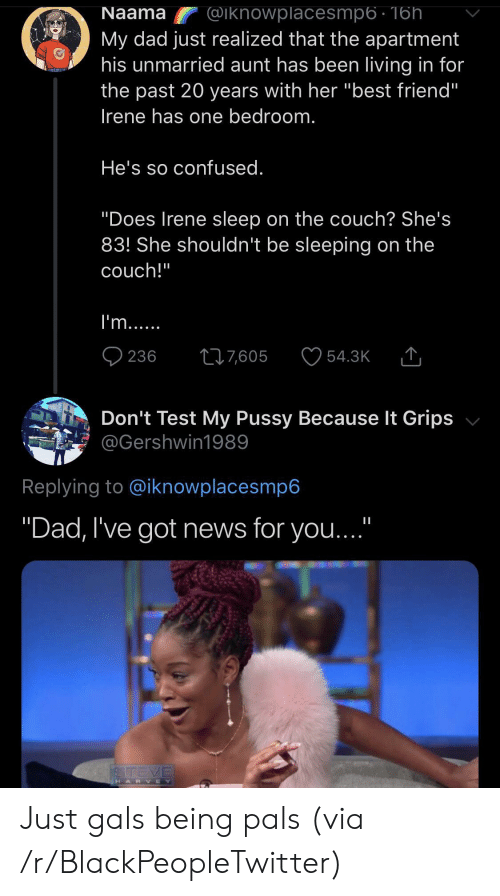 """Best Friend, Blackpeopletwitter, and Confused: Naama  @iknowplacesmp6 - 16h  My dad just realized that the apartment  his unmarried aunt has been living in for  the past 20 years with her """"best friend""""  Irene has one bedroom.  He's so confused.  """"Does Irene sleep on the couch? She's  83! She shouldn't be sleeping on the  couch!""""  I'm...  236  217,605  54.3K  Don't Test My Pussy Because It Grips  @Gershwin1989  Replying to @iknowplacesmp6  """"Dad, I've got news for you...""""  STEVE  HARVEY Just gals being pals (via /r/BlackPeopleTwitter)"""