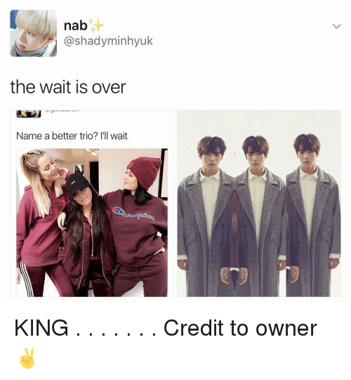 Memes, 🤖, and Trio: nab  ashadyminhyuk  the wait is over  Name a better trio? I'll wait KING . . . . . . . Credit to owner✌