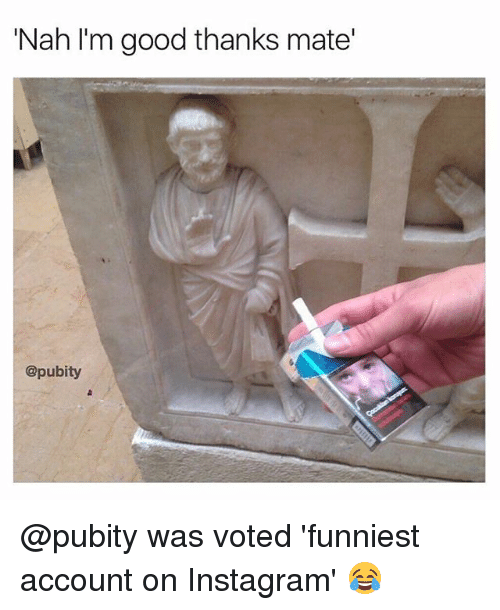 Instagram, Memes, and Good: 'Nah I'm good thanks mate'  @pubity @pubity was voted 'funniest account on Instagram' 😂